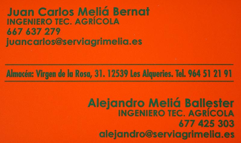 Servicios Agrícolas Meliá tarjeta visita